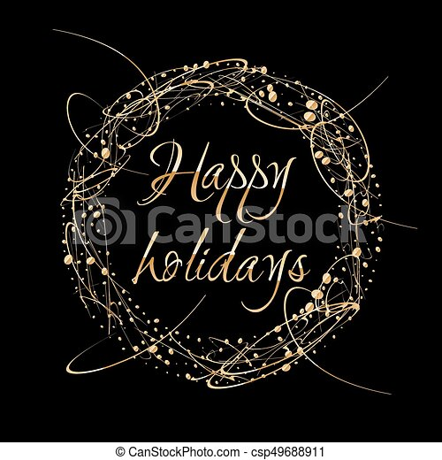 Vector Abstract shiny color gold design element with glitter effect on dark  background  Happy Holidays greeting card wreath