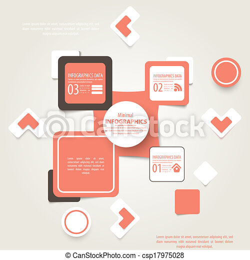 Vector abstract squares background illustration, infographic template with place for your content - csp17975028