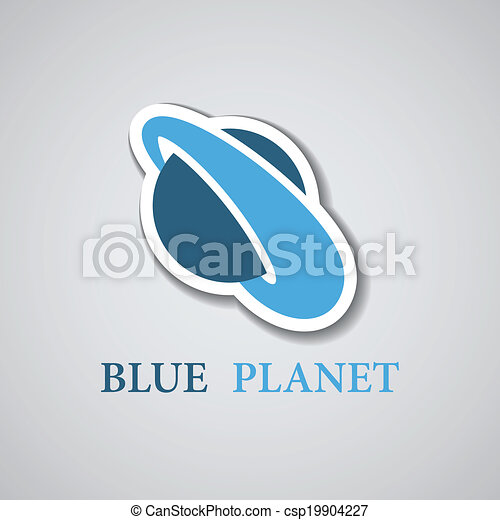vector abstract stylized blue planet icon - csp19904227