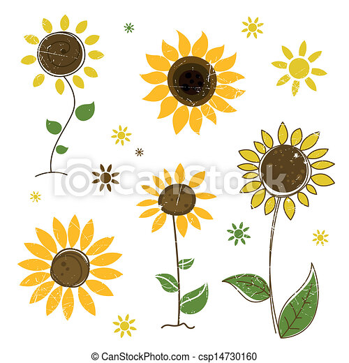 Vector abstract sunflowers. Vector illustration of ...