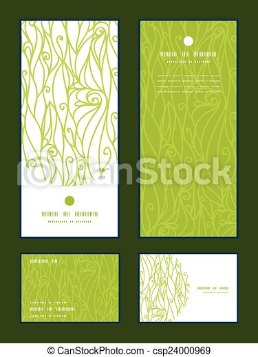 Vector abstract swirls texture vertical frame pattern invitation greeting, RSVP and thank you cards set - csp24000969