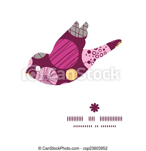 Vector abstract textured bubbles bird silhouette pattern frame - csp23603952