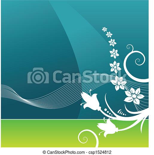 vector, achtergrond, grunge, floral - csp1524812