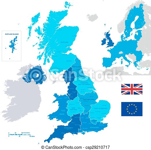 Map Of Uk With Regions.Vector Administrative Uk Map