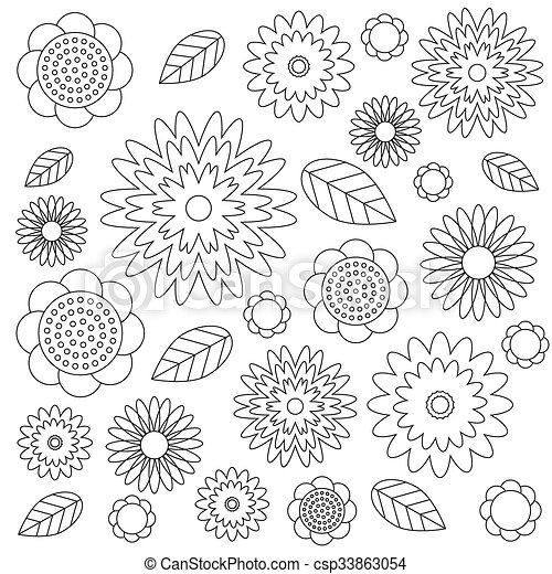 Vector adult coloring book page irregular floral pattern... clipart ...