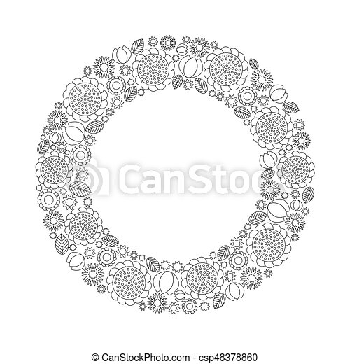 Vector Adult Coloring Book Page With Spring Flowers And Leaves Arranged To Circle