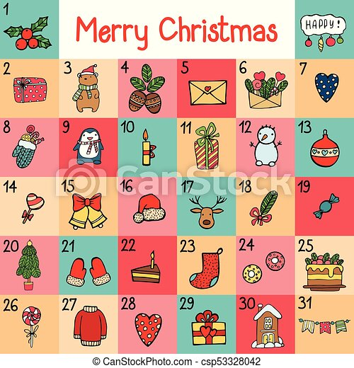 Vector Advent Calendar With Christmas Cartoon Characters And Symbols