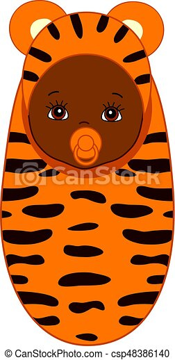 Vector African American Cute Baby In Tiger Costume Vector African