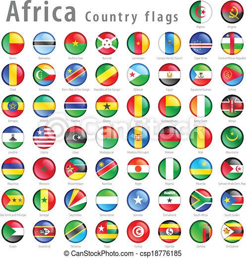 Vector African National Flag Button Set - csp18776185