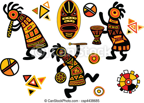 vector african traditional patterns dancing musicians rh canstockphoto com african clip art borders free african clip art black & white