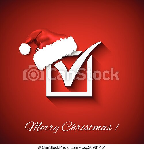 Vector agreement symbols with christmas hat on red background. EPS - csp30981451