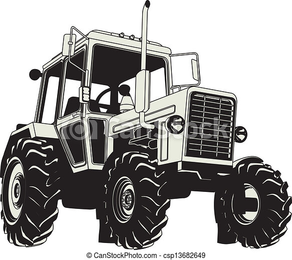 Vector Agricultural Tractor Silhouette - csp13682649