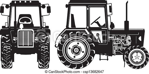 Vector Agricultural Tractor Silhouettes - csp13682647