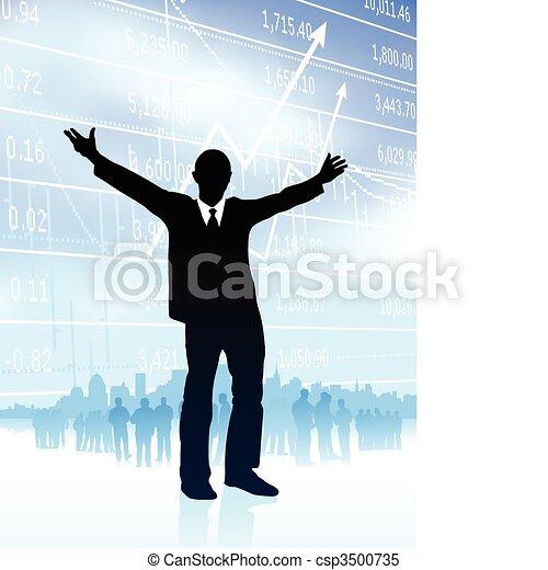 Ilustración de Vector original: hombre de negocios excitado con Skyline y gráfico en Internet - csp3500735