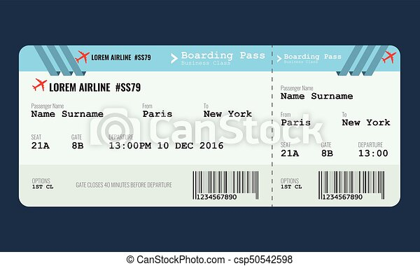 Vector airplane ticket design template. mock up for air ticket.