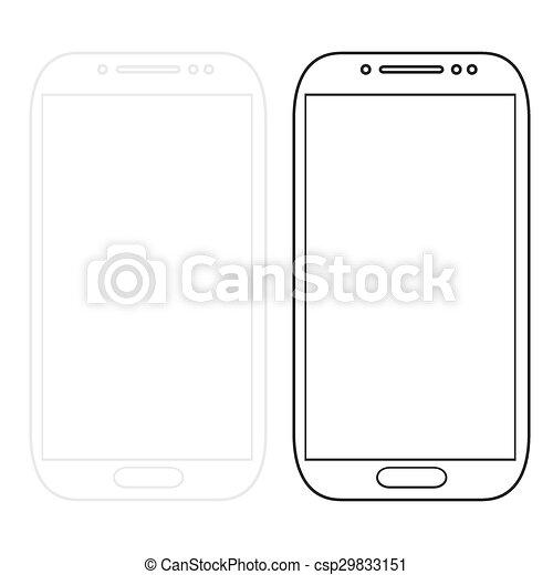 Los smartphones modernos están aislados en blanco - csp29833151