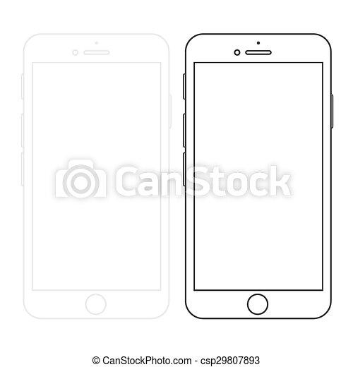 Los smartphones modernos están aislados en blanco - csp29807893