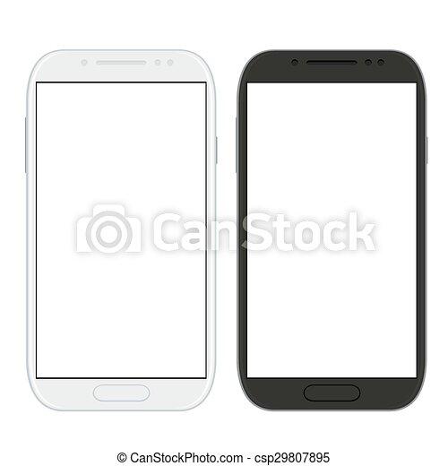 Los smartphones modernos están aislados en blanco - csp29807895