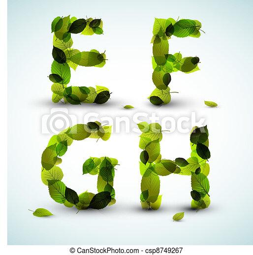 Cartas de alfabeto Vector hechas de hojas - csp8749267