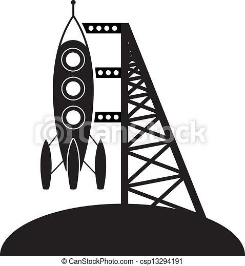 Cohete de vector y plataforma de lanzamiento - csp13294191