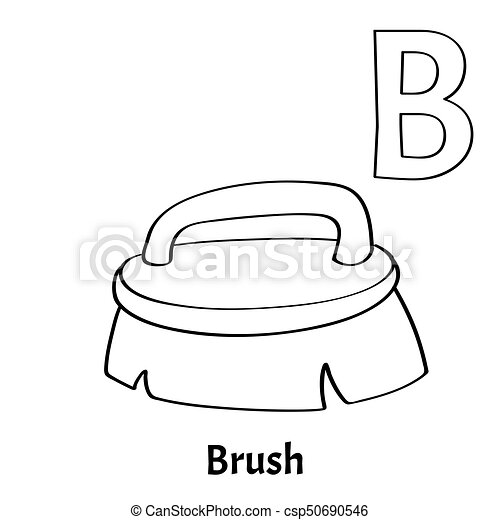 Vector Alphabet Letter B Coloring Page Brush