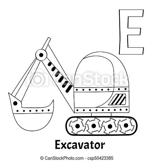vector alphabet letter e coloring page excavator vector vector