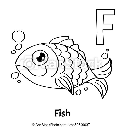 Vector Alphabet Letter F, Coloring Page. Fish. Vector Alphabet Letter F For  Children Education With Funny Cartoon Gold Fish. CanStock