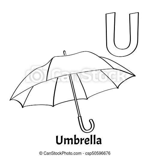 Vector Alphabet Letter U Coloring Page Umbrella Vector Alphabet