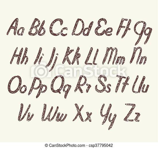 Vector alphabet with texture - csp37795042