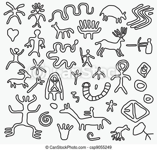 vector ancient petroglyphs  - csp9055249
