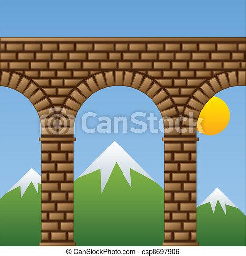 vector ancient stone bridge viaduct aqueduct - csp8697906