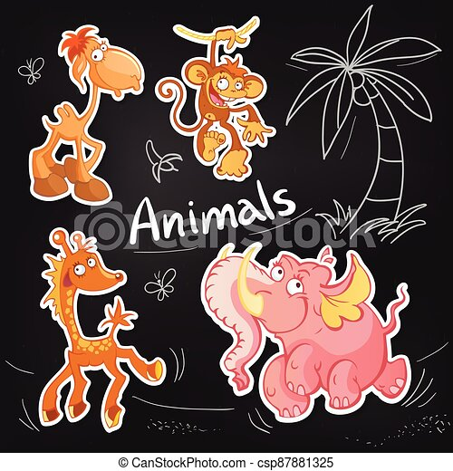 Vector animals cartoon characters. Cool Sticker designs - csp87881325
