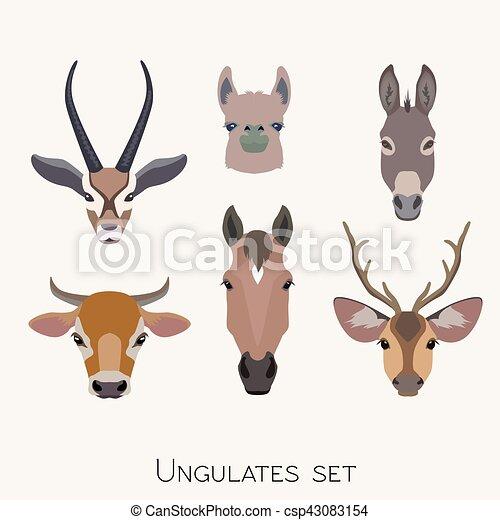 Vector animals heads set. Lama deer antelope donkey horse cow - csp43083154