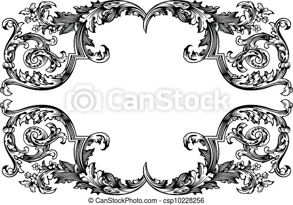 Vector antique vintage frame isolated on white for design clipart