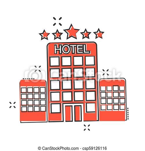 El icono de un hotel de dibujos animados al estilo cómico. Fotograma de ilustración de la torre. El concepto del negocio de apartamentos de hotel. - csp59126116