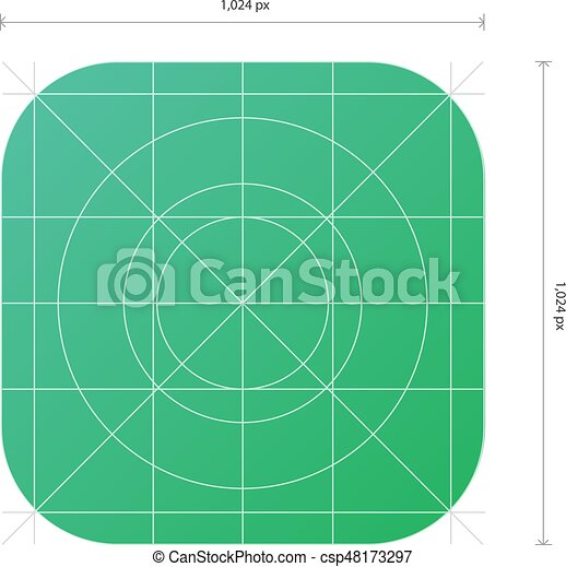 vector app icon template with dimensions development grid line