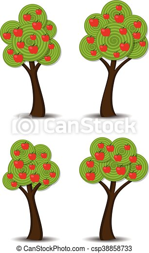 vector apple trees with fruits - csp38858733