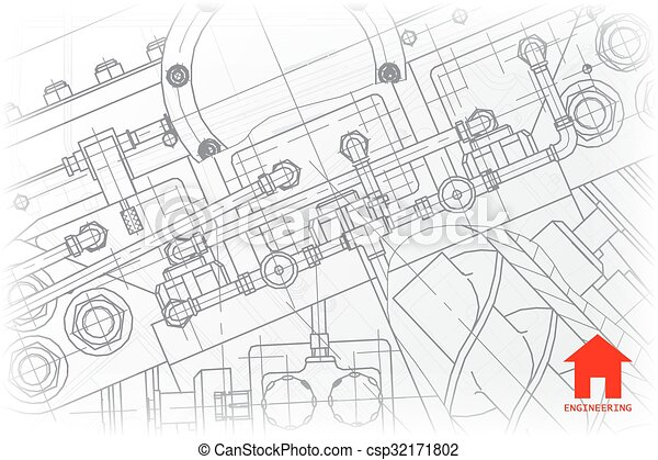 Vector architect background vector technical blueprint of mechanism vector architect background malvernweather Gallery
