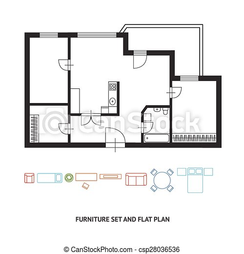 furniture clipart for floor plans. vector - architect plan with a furniture flat design clipart for floor plans