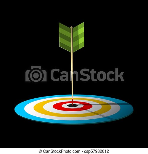 Vector Arrow. Dart Hit Centre of Target. - csp57932012