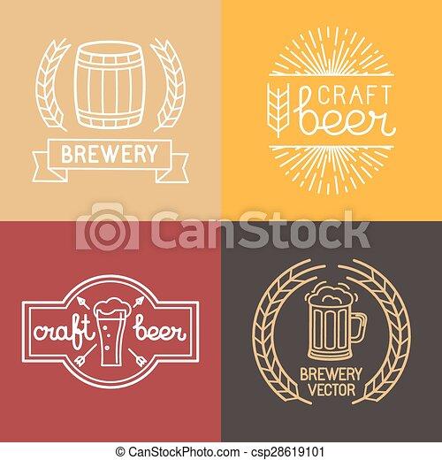 Cerveza Vectora y logotipos de cervecería - csp28619101