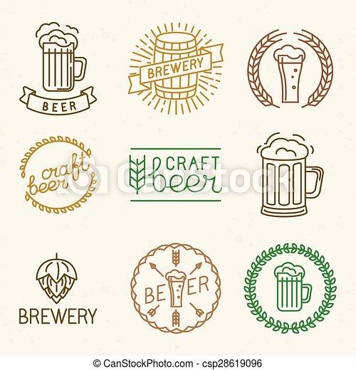 Cerveza Vectora y logotipos de cervecería - csp28619096
