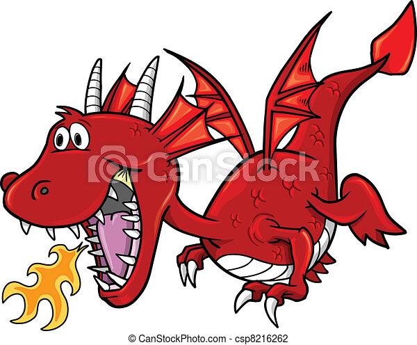 Arte de ilustración del dragón rojo - csp8216262