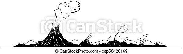 Vector Artistic Drawing Illustration of Volcano Landscape - csp58426169