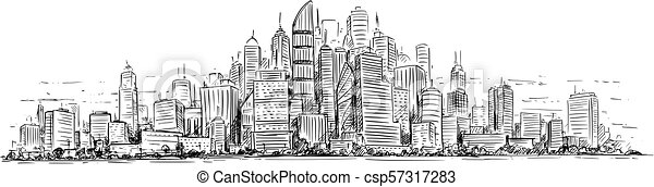 Vector Artistic Drawing Illustration of Generic City High Rise Cityscape  Landscape with Skyscraper Buildings