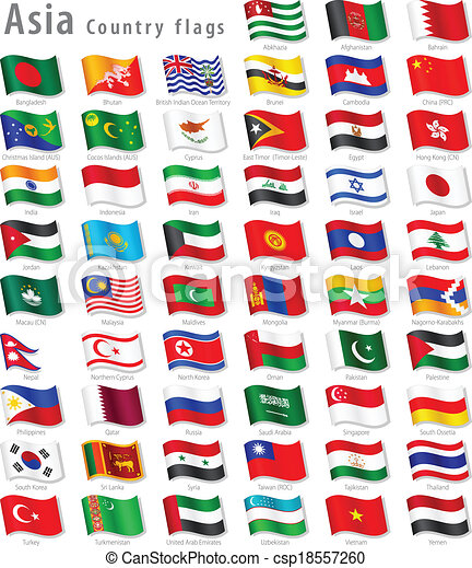 vector asian national flag set vector collection of all asian