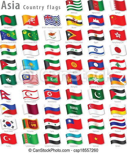 Vector Asian National Flag Set - csp18557260