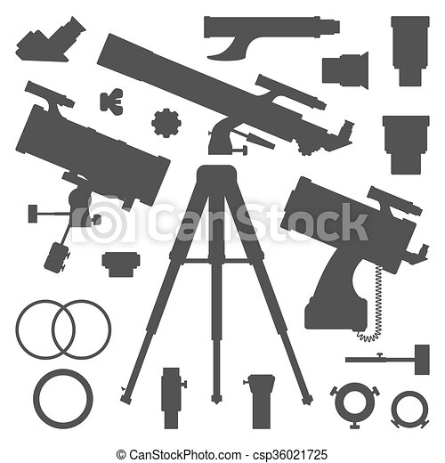 Vector Astronomy Telescope Silhouette Collection