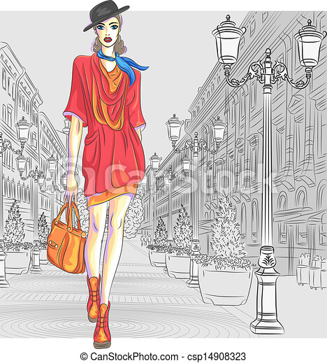 Vector attractive fashion girl goes for St. Petersburg - csp14908323