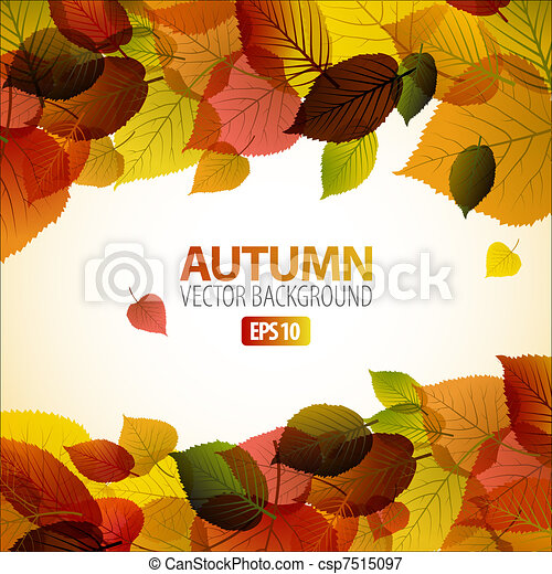 Vector Autumn abstract background with colorful leafs - csp7515097
